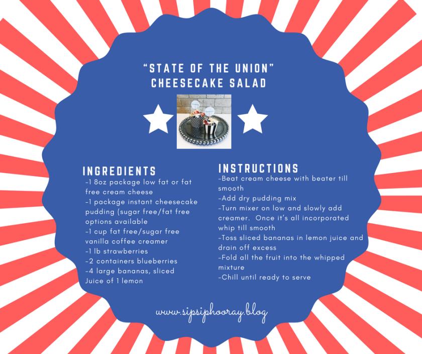 Recipie Card State of the Union Cheescake Salad